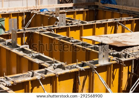 The injection work the concrete to make the foundation of the construction work residential housing - stock photo