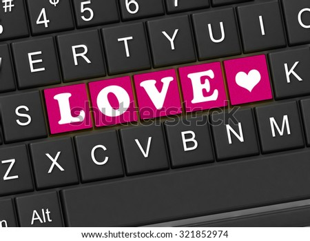 The inscription love on the black keyboard - stock photo