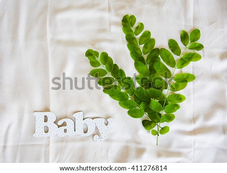 the inscription of white letters Baby with leaf