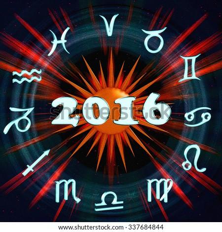 The inscription 2016 with the symbols of the horoscope - stock photo