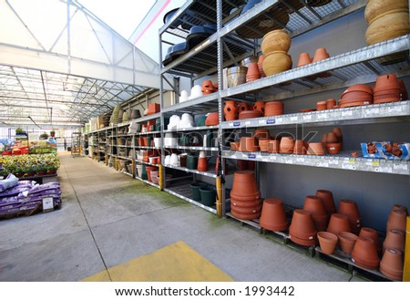 the inside area of a home improvement center's garden section - stock photo