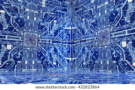 the inside of a computer or electronic environment, 3D illustration