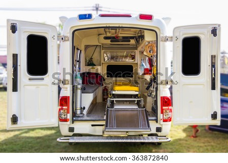 The inside of ambulance. - stock photo