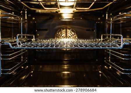 The inside of an electric oven. - stock photo