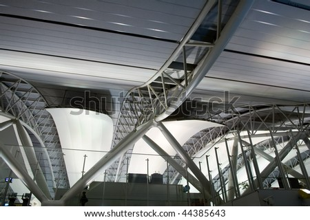The interior design architecture at the airport, the structure of ceiling - stock photo
