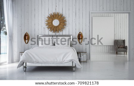 The interior design of luxury bedroom and living room and white wood wall / 3D rendering interior design new scene