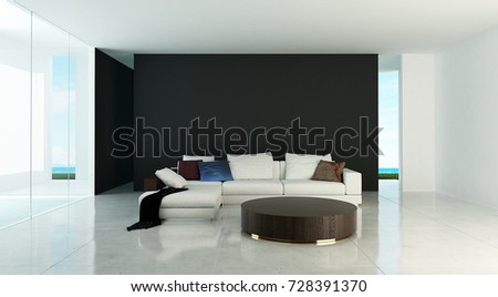 The interior design of modern lounge chairs and living room and concrete wall texture / 3D rendering new model new scene