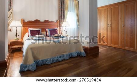 The Interior design. The big modern Bedroom - stock photo
