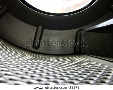 The interior of a washing machine - stock photo