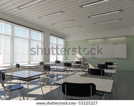 the interior of classroom (3D rendering) - stock photo