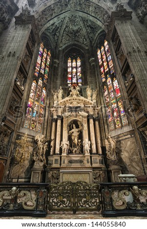 The interior of Duomo church in Milan, Italy - stock photo