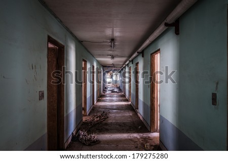 The interior of Gonjiam Psychiatric Hospital in South Korea. The building was abandoned nearly twenty years ago, but never demolished. - stock photo