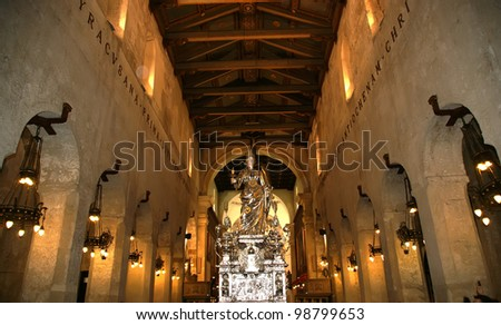 The interior of the Cathedral  OF SYRACUSE (Siracusa, Sarausa)-- historic city in Sicily, Italy