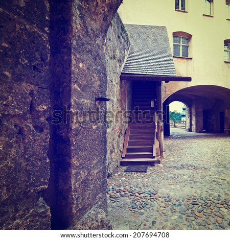 The Interior of the Fortress in the Bavarian Town of Burghausen, Instagram Effect - stock photo
