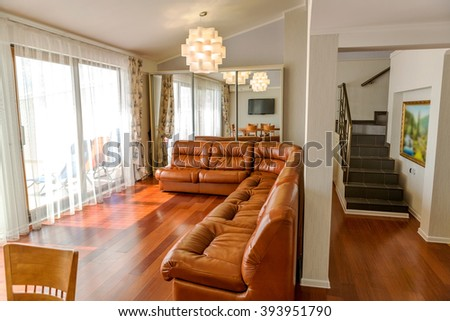The interior of the hall and hotel rooms. Hotel Recreation Area. Garden restaurant and private dining room of a small hotel in the resort area - stock photo