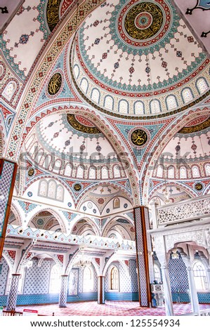 The interior of the majestic mosque at Manavgat in Turkey. - stock photo