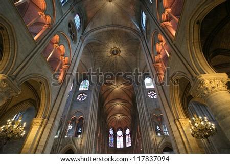 The interior of the Notre Dame de Paris, France - stock photo