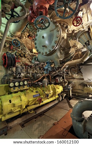 The interior of the old submarine, diesel compartment, the compressor of a high pressur, nobody