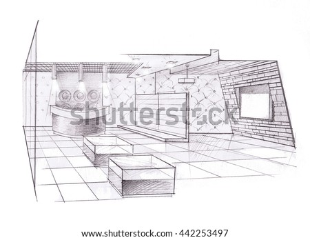 the interior of the store hand drawn sketch interior design.