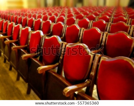 The interior of the theater arts. The auditorium with seats chairs. Soft focus