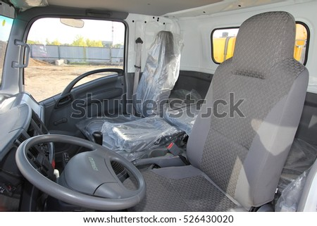 the interior of the truck cabin Isuzu inside - Russia, Moscow, 24 September 2016, at the construction site