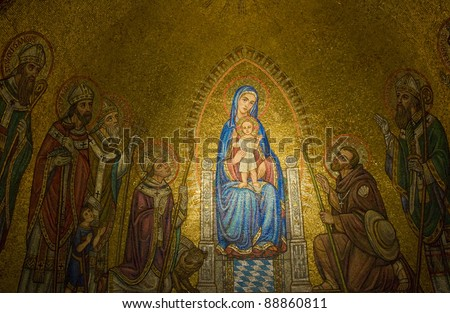 """The interior wall in the """"Hagia Maria Sion"""" church  in old  Jerusalem , Israel - stock photo"""