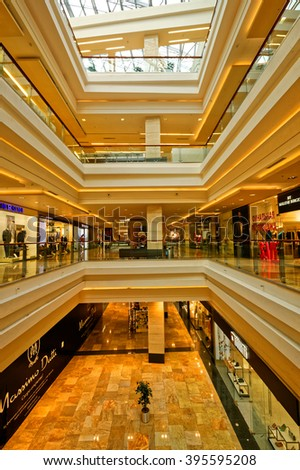 "The interiors of the shopping center ""Afimall"", on the territory of the office and business center ""Moscow City"". Russian Federation Moscow. Shooting Date 19 March 2016"