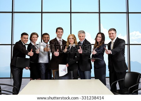 The International Law Firm. Business people on the background of sky. Team of lawyers in the conference hall. - stock photo