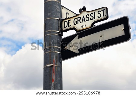 The internationally  popular Canadian TV franchise now known simply as Degrassi started out as The Kids of Degrassi Street.  This is the street sign for the street in Toronto. - stock photo