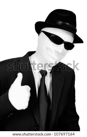 The Invisible man with thumb up - stock photo