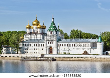 The Ipatiev Monastery is a male monastery, situated on the bank of the Kostroma River just opposite the city of Kostroma. It was founded around 1330 - stock photo
