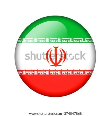 The Iranian flag. Round glossy icon. Isolated on white background. - stock photo