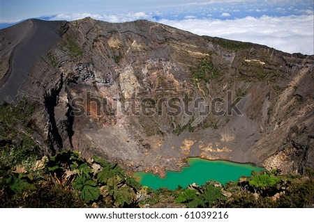 The Irazu Volcano  is an active volcano in Costa Rica, situated in the Cordillera Central close to the city of Cartago. - stock photo