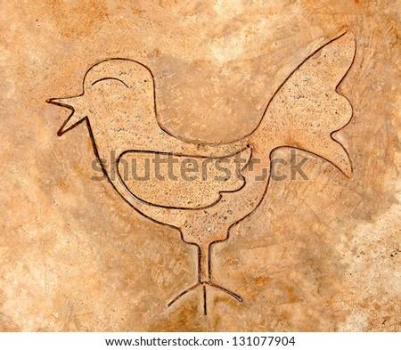 The Iron pattern line of bird on cement floor - stock photo