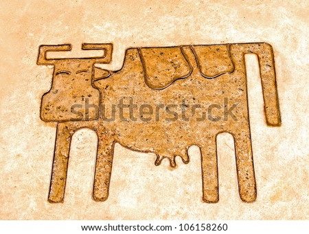 The Iron pattern line of cow on cement floor - stock photo