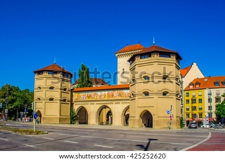 The Isartor gate of the medieval city wall in Munich, Germany - stock photo