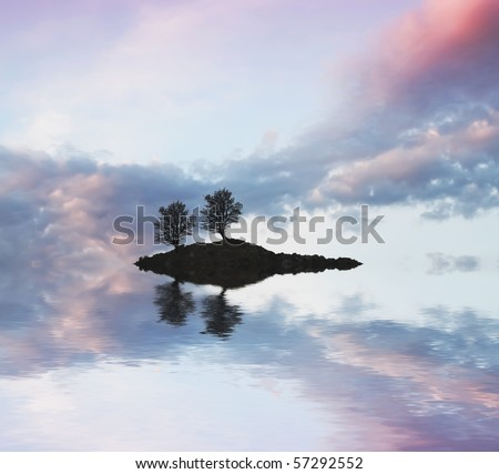 the island and the trees - stock photo