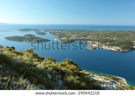 "The Island ""Korcula"" on the Adriatic Sea in Croatia. - stock photo"