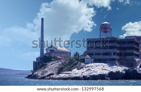 The island of Alcatraz view from the boat. - stock photo
