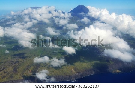 The island of Fogo in the republic of Cabo Verde, with clouds over its mountainous volcanic landscape