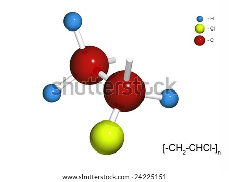 The isolated 3D fragment of polyvinylchloride on a white background - stock photo