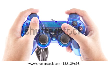 the isolated of the blue joystick for controller and play video game on white background - stock photo