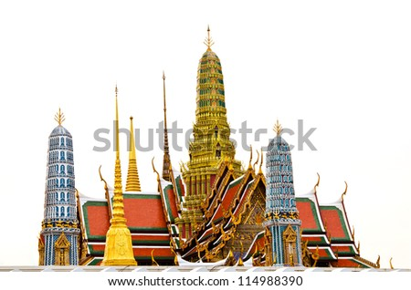 The isolated picture of the top of Wat pra kaew Grand palace in Thailand. This is traditional and generic style in Thailand. No any trademark or restrict matter in this photo. - stock photo