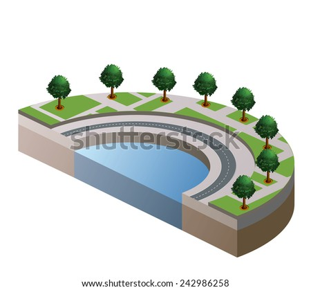 The isometric view of part of the urban landscape - stock photo