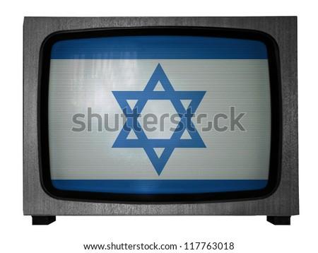 The Israeli flag painted on old TV - stock photo