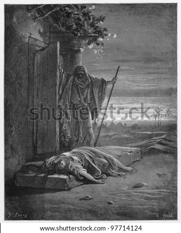 The Israelite discovers his concubine dead - Picture from The Holy Scriptures, Old and New Testaments books collection published in 1885, Stuttgart-Germany. Drawings by Gustave Dore. - stock photo