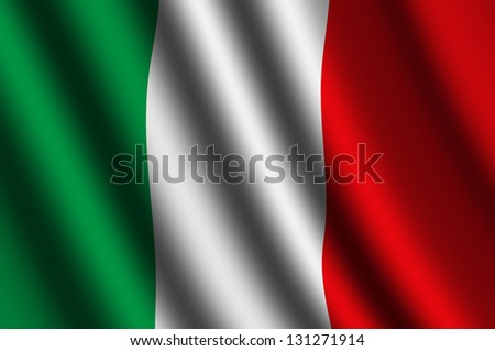 The Italian flag  flying in the wind. - stock photo
