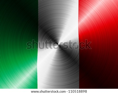 The Italian flag painted on brushed metall - stock photo