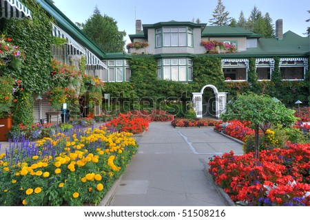 The italian garden inside the historic butchart gardens (built in 1904), vancouver island, british columbia, canada