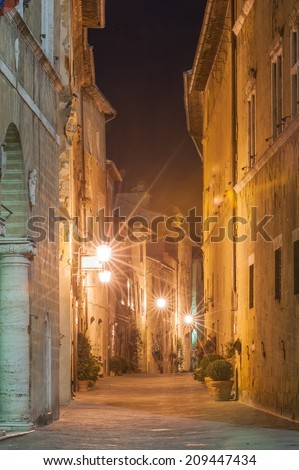 The Italian town late at night in Tuscany - stock photo